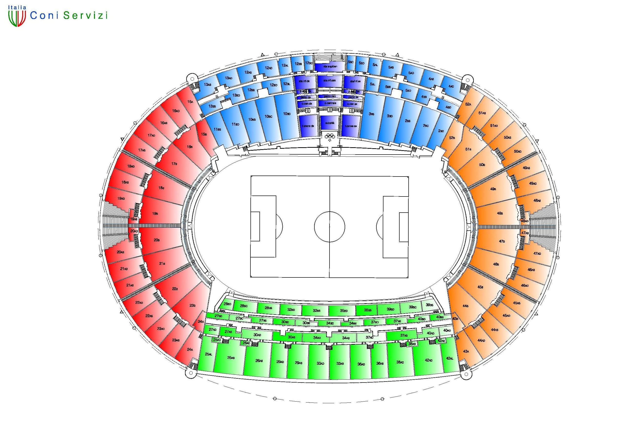 Cartina Stadio Olimpico Di Roma.Stadio Olimpico Settori Mappa Ed Ingressi Spostare La Finale Da Roma No Grazie
